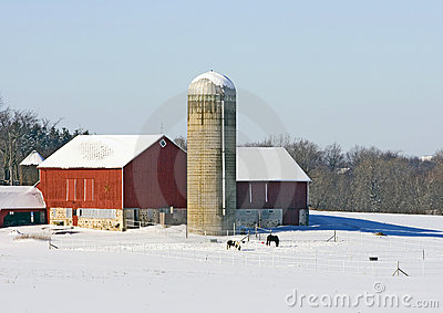 Midwest Farm In The Winter