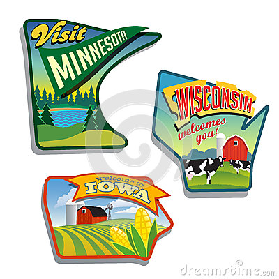 Midwest United States Minnesota Wisconsin Iowa  illustrations designs