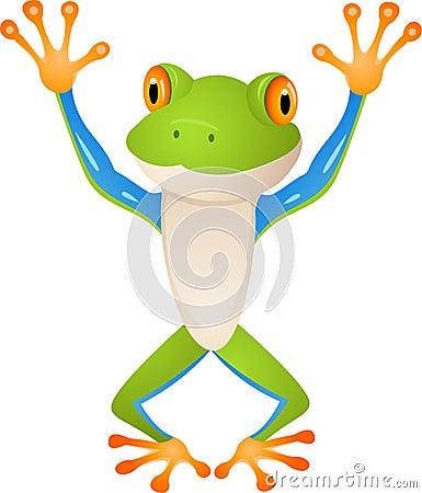 śmieszna kreskówki żaba