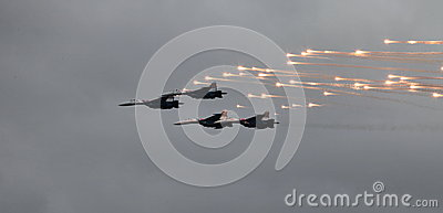 MiG-29 fighter fires a missile Editorial Image