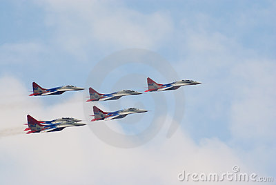 MiG-29 jets from Strizhi team Editorial Stock Image
