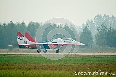 MiG-29 runs after landing Editorial Image