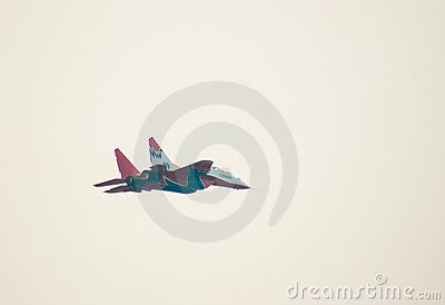 MiG-29 (Strizhi) demonstrates aerobatics Editorial Stock Image