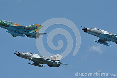 MIG 21 LANCER fighter plane performs a demonstration flight on the Romanian Air Fest Editorial Stock Image