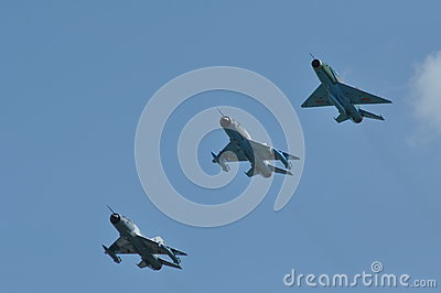 MIG 21 LANCER fighter plane performs a demonstration flight on the Romanian Air Fest Editorial Photo