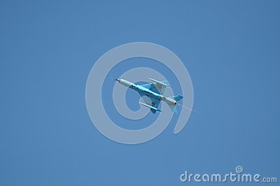 MIG 21 LANCER fighter plane performs a demonstration flight on the Romanian Air Fest Editorial Photography