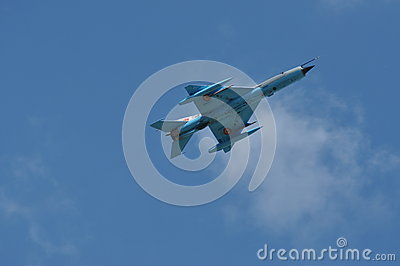 MIG 21 LANCER fighter plane performs a demonstration flight on the Romanian Air Fest Editorial Image