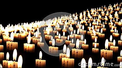 Migliaia di candele nella notte, fine su, dof