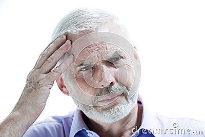 Migraine or memory loss illness senior man