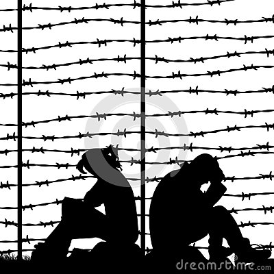 Free Migrant Refugees Behind Barbed Wire, Silhouette Of A Pair Of Sad Royalty Free Stock Photo - 129374885