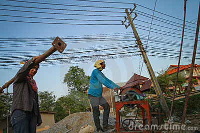 Migrant workers from Cambodia in Thailand Editorial Image