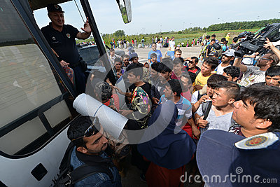 Migrants from Middle East waiting at hungarian border Editorial Stock Photo