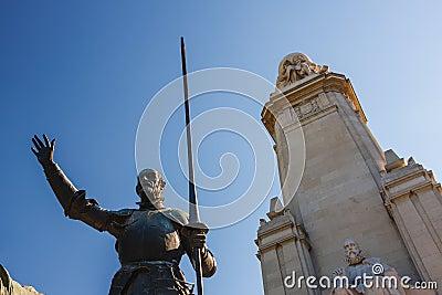 Miguel de Cervantes monument in Madrid