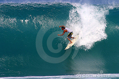 Mikala Jones Surfing at Backdoor Editorial Photo