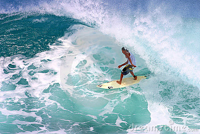 Mikala Jones Surfing at Backdoor Pipeline Editorial Stock Image