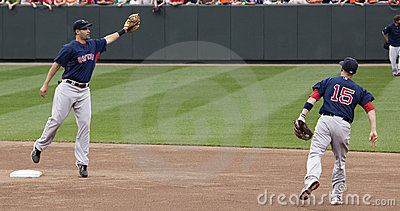 Mike Lowell And Dustin Pedroia Stock Photos - Image: 14187783