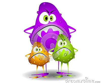 Eine klippkunst-karikaturabbildung von 3 bösen schauenden mikroben