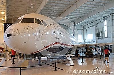 Milagro en el Hudson, vuelo 1549, en Charlotte Foto editorial