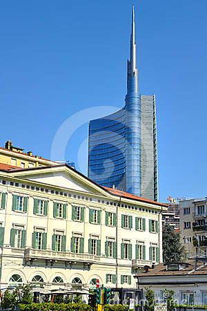 Milan ancient buildings and new skyscrapers Editorial Photography