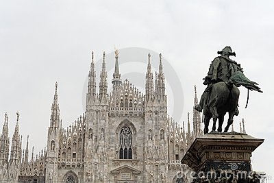 Milan Cathedral and Horseman Statue