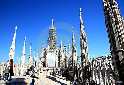 Milan Cathedral Top Editorial Photo