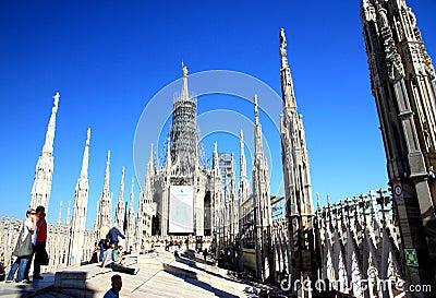 Milan Cathedral Top Editorial Photo