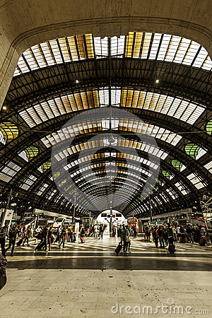Milan, central station train Editorial Photo