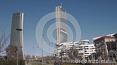 Milan City Life-district met wolkenkrabbers stock video