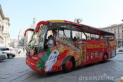 Milan city sightseeing coach Editorial Stock Image
