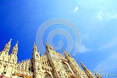 Milan Duomo on blue sky