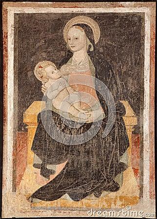 Milan - fresco of virgin Mary