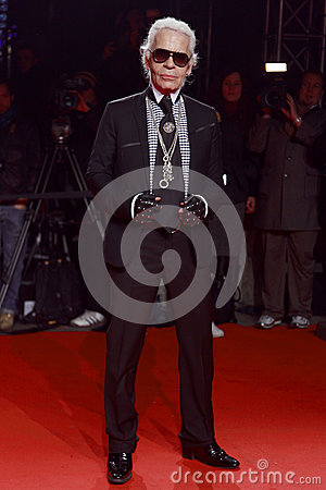MILAN, ITALY - MARCH 02: Karl Lagerfeld attends the Extreme Beauty In Vogue party at the Palazzina della Ragione during Autumn/Win Editorial Stock Photo