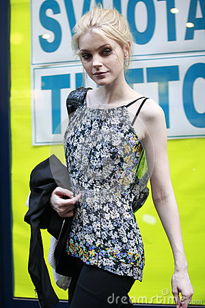 MILAN, ITALY - MARCH 02: Model Jessica Stam attends the Extreme Beauty In Vogue party at the Palazzina della Ragione during Milan Editorial Image