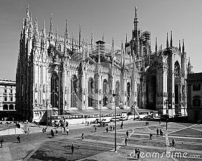 Milan-Lombardy-Italy -april 07 2014: Duomo Milan renovation construction Editorial Photo