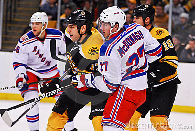 Milan Lucic and Ryan McDonagh Rangers v. Bruins Editorial Image