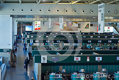 Milan Malpensa check in area Editorial Photography