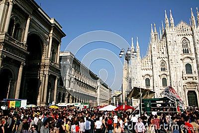 Milan, people at the Italian Liberation Day parade Editorial Stock Image