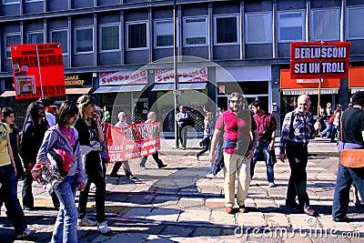 Milan, People protesting politics corruption Editorial Image