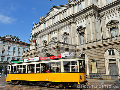 Milan Scala Theatre and cable car Editorial Photography