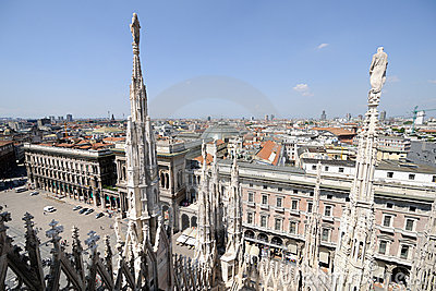 Milan skyline, from roof of cathedral, Italy