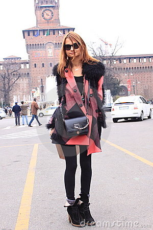 Milan street style fashion Editorial Image