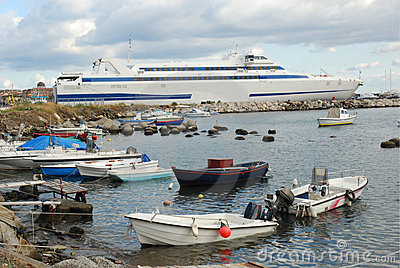 Milazzo harbor with ferry to Lipari Islands Italy