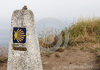 Milestone at Finisterre the end of the Way