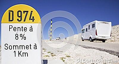 Milestone, Mout Ventoux with auto camper.