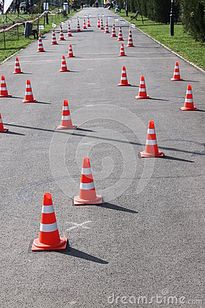 Road cones with reflective band
