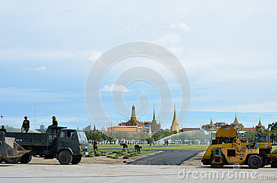 Militar renovate The royal field (Sanam Luang) Editorial Photography