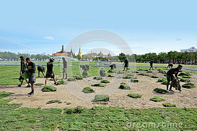 Militar renovate The royal field (Sanam Luang) Editorial Stock Photo