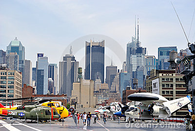 Military Aircraft with New York City Skyline Editorial Photo