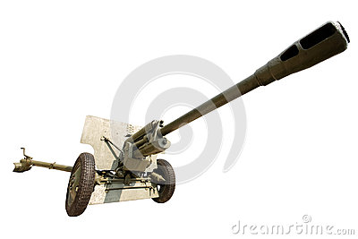 Military anti-aircraft gun on an isolated