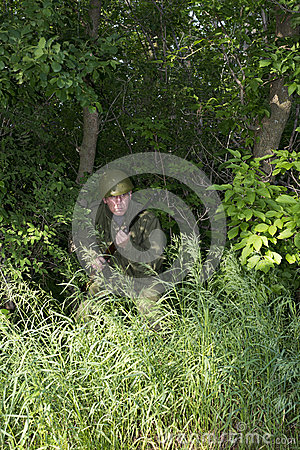Military Army Soldier Fighting In Jungle Combat